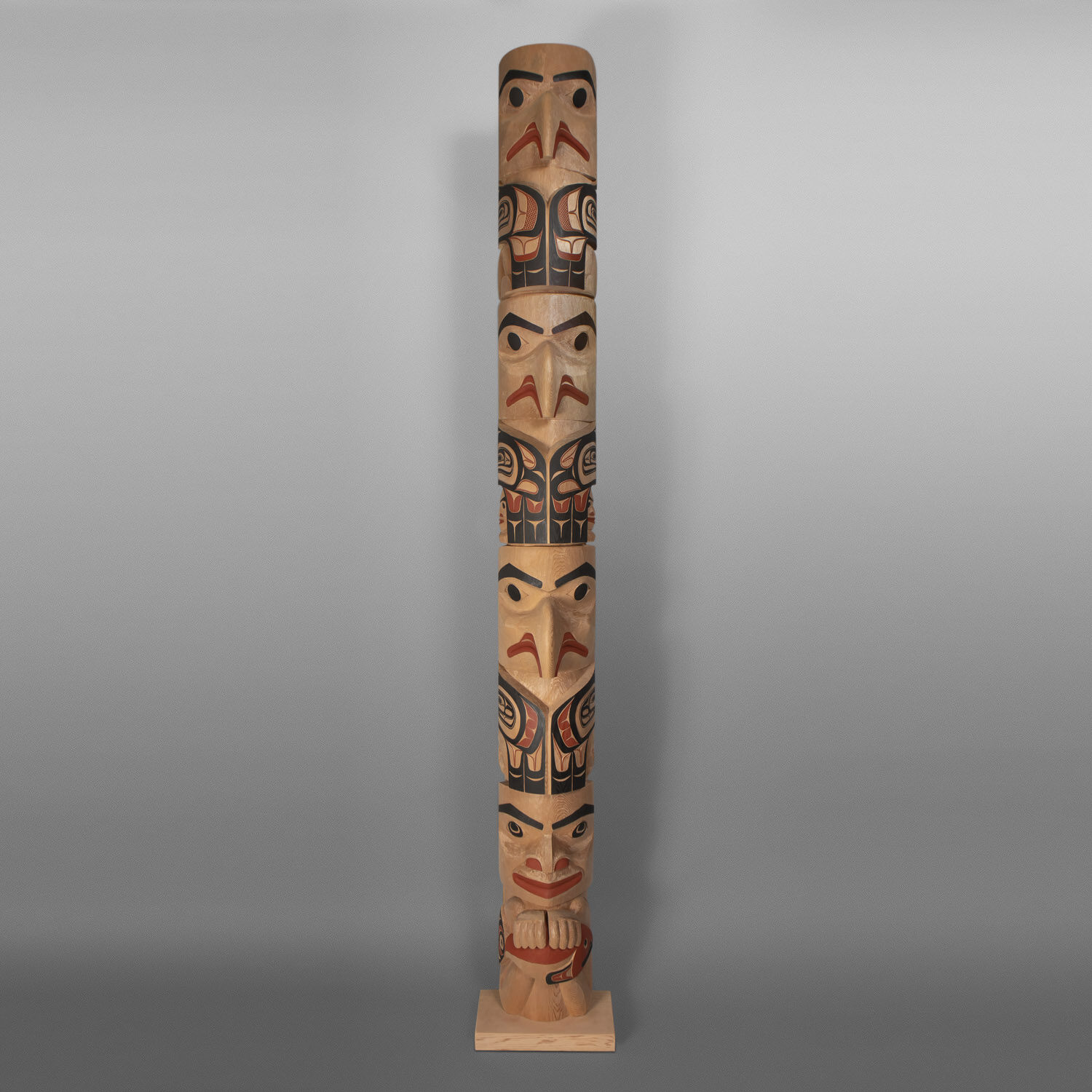 "The Boy Who Fed The Eagles Totem Pole David A Boxley Ts'msyen Red cedar, paint 98""h x"" x 10""w  x 9½""d $25,000"