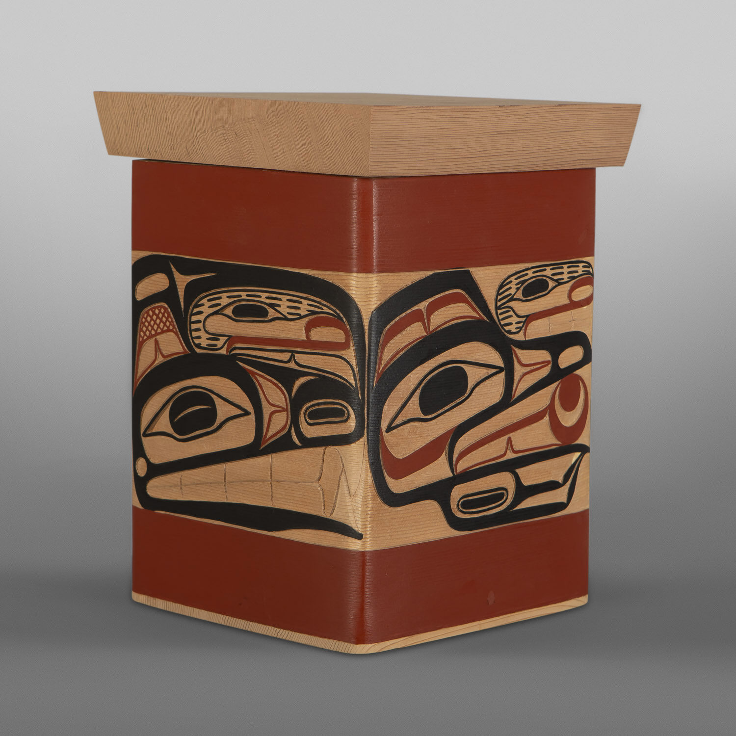 "The Four Clans Bentwood Box David A Boxley Ts'msyen Red cedar, paint 12"" x 9"" x 9"" $4000"