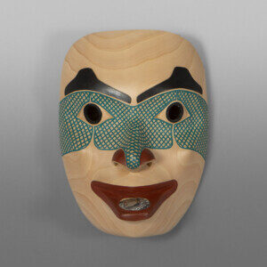 "Ksm Amawaal Noble Woman David Boxley Tsimshian Alder, paint, abalone 10""h x 7""w x 5""d $4500"