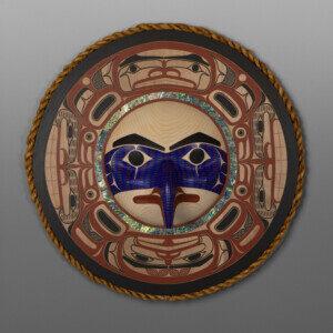 "Eagle  David A Boxley Ts'msyen Red cedar, alder, cedar rope, abalone, paint 31"" dia. x 7""d $12,000"