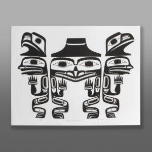 "Three Watchmen Reg Davidson Haida Serigraph 28"" x 22"" $325"