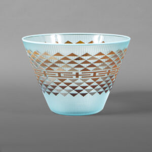 "Sea & Sky Bowl Preston Singletary Tlingit  Blown and carved glass 9½"" dia. x 6½""  $8000"