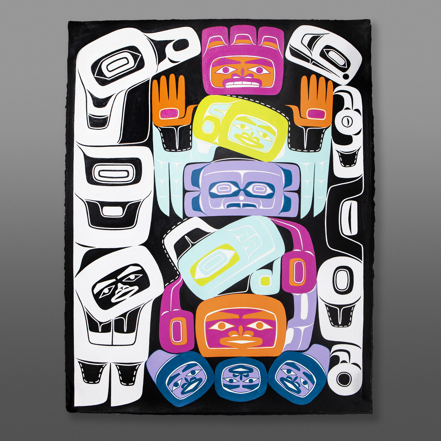 """What We Take Alison Bremner Tlingit Acrylic on Arches paper, unframed 30"""" x 22""""  $6000"""