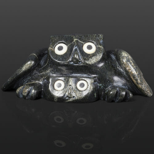 "Owl with Chick Joanasie Manning Inuit Serpentine, bone 7¼"" x 5"" x 3"" $950 stone sculpture cape dorset"