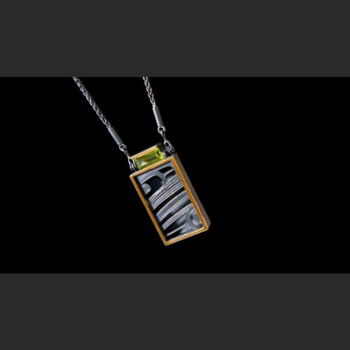 """""""Ksiyeen"""" Skeena River Pendant Morgan Green Tsimshian oxidized silver, 14 karat gold, Peridot 2""""H X 1 ½""""W X ¼""""D, 18"""" chain"""