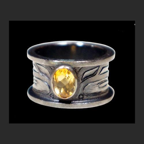"""Ksem Wudzin"" Mouse Woman Hears Ring Morgan Green Tsimshian oxidized silver, Citrine 1""H, Size 8 Sold"