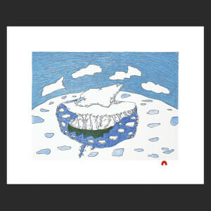 "16. Solitary Iceberg Ooloosie Saila Inuit Lithograph Paper: BFK White Printer: Niveaksie Quvianaqtuliaq 33 x 40.6 cm 13"" x 16"" $450 $360 Cape Dorset Print Collection  2020"