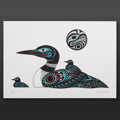 Loons Joe Wilson Coast Salish Serigraph 15 x 22 100 babies original prints northwest coast native art