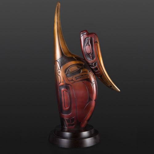 "Hyacinth Medicine Amulet Preston Singletary Tlingit Bronze 25 1/4"" x 13"" x 3"" 7500 northwest coast native art glass artist seattle salamander geoduck"