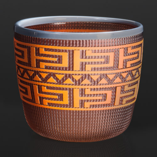 "orange and grey basket Preston Singletary Tlingit blown & sand-carved glass 5"" x 5½"" 3000 berry basket northwest coast native art glass blowing glass artist seattle"