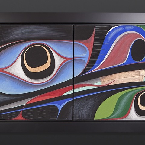 """Raven's Wealth Chazz Mack Nuxalk Acrylic on canvas Framed 53"""" x 22"""" Sold"""