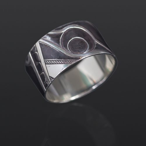 two humans ring Clinton Work Kwakwaka'wakw silver oxidized jewelry northwest coast native art