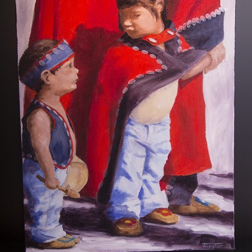 little drummer is ready jean Taylor Jean Taylor – Tlingit Painting on canvas northwest coast native art original