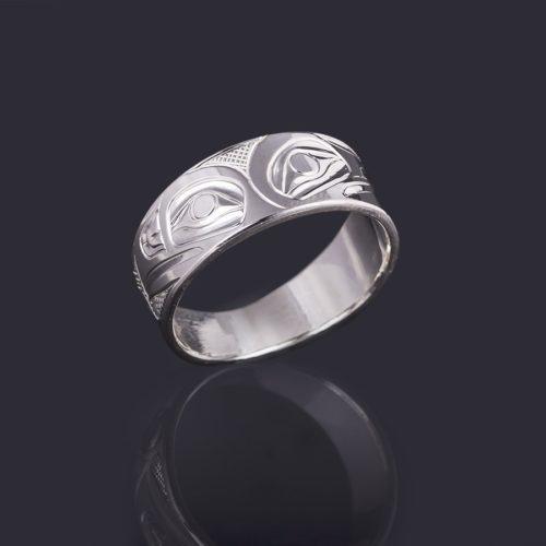 raven and eagle ring Landon Gunn Kwakwaka'wakw 3/8 Wide Size 12 3/4 silver jewelry northwest coast native art