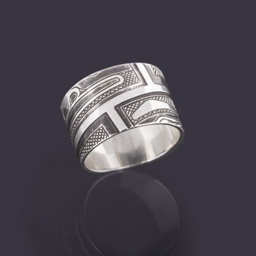 chilkat faces ring Clinton Work Kwakwaka'wakw 1/2 Wide, Size 6 1/2 jewelry silver oxidized northwest coast native art