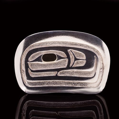 salmon belt buckle Grant Paul Tahltan Silver, 14k Gold 3 1/4 x 2 1/4 700 jewelry northwest coast native art