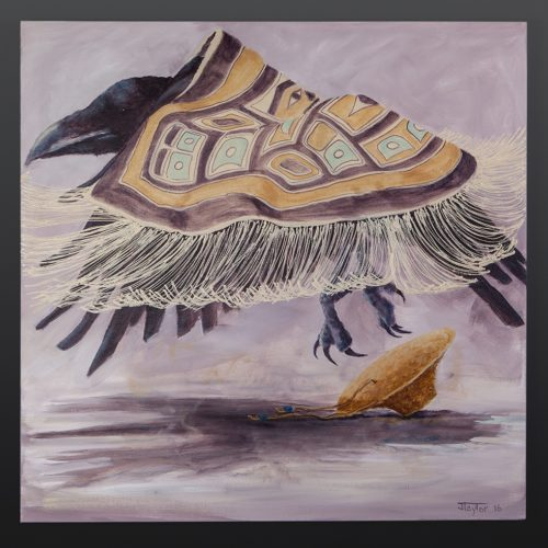 Jean Taylor Tlingit Acrylic on canvas 30 x 30 raven loses his hat jean taylor native art northwest coast painting