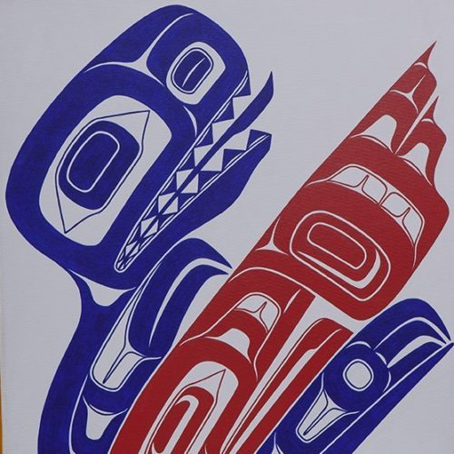 Alison Bremner Tlingit Acrylic on canvas 20 x 16 How Raven Accidentally wiped out the dinosaurs alison Bremner native art painting