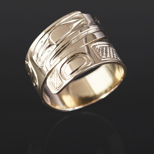 gold raven ring Bill Bedard Haida 14k gold Wrap ring jewelry northwest coast native art