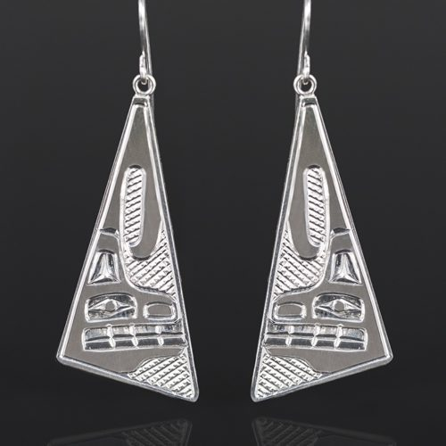 "wolf clan earrings Bill Bedard Haida Silver 2"" long jewelry northwest coast native art"