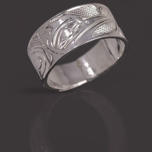 kingfisher ring Landon Gunn Kwakwaka'wakw Silver northwest coast native art jewelry