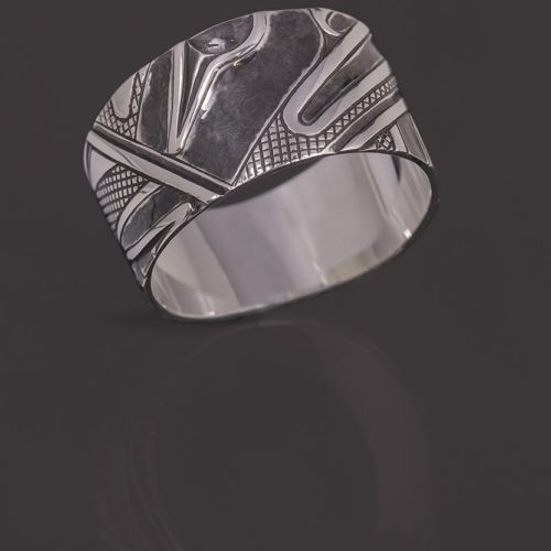 abstract human ring Clinton Work Kwakwaka'wakw Oxidized silver 11 ¼ jewelry ring northwest coast native art
