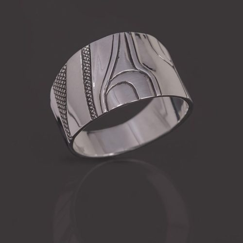 abstract human ring Clinton Work Kwakwaka'wakw Silver jewelry northwest coast native art
