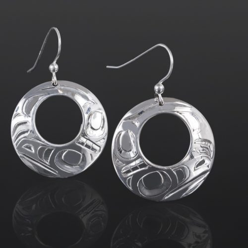 raven earrings Alvin Adkins Haida Silver 1 3/4 northwest coast jewelry native art