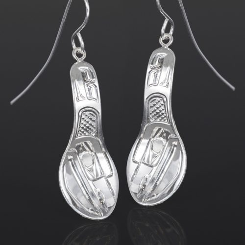 raven spoon earrings Bill Bedard Haida Silver 1 1/4 x 1/2 jewelry northwest coast native art