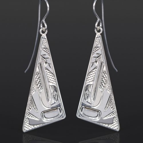 hummingbird triangle earrings Bill Bedard Haida Silver 1 3/4 x 3/4 jewelry northwest coast native art