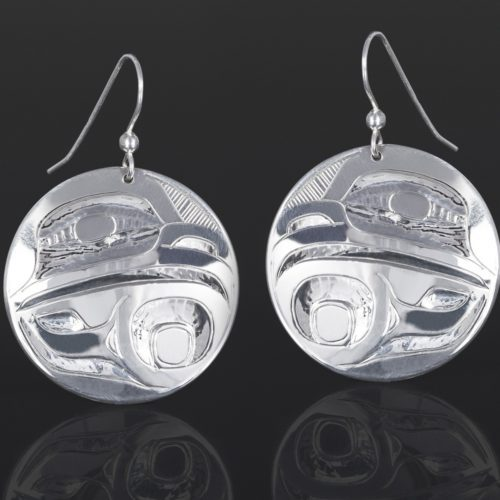 eagle earrings Alvin Adkins Haida Silver 1 1/4 dia. jewelry northwest coast native art