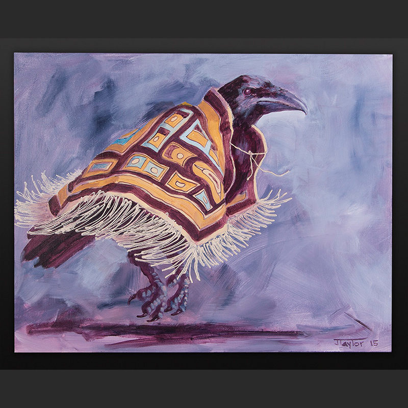 Kicking Up A Storm Jean Taylor Tlingit Acrylic on canvas 16 x 20 800 northwest coast crow chilkat