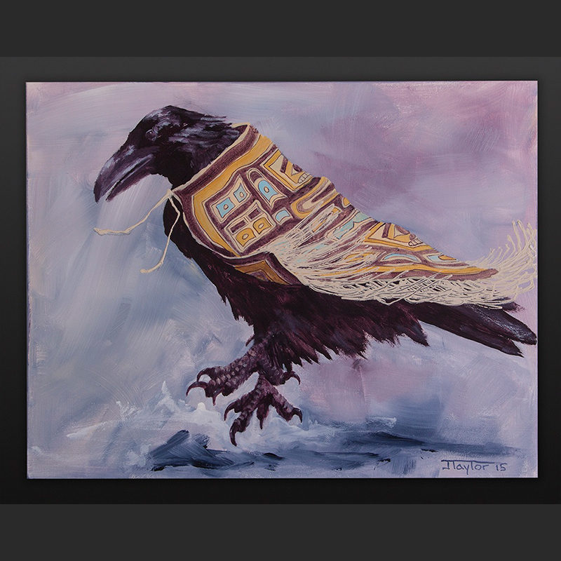 The Old One Dances Jean Taylor Tlingit Acrylic on canvas 36 x 40 700 raven chilkat