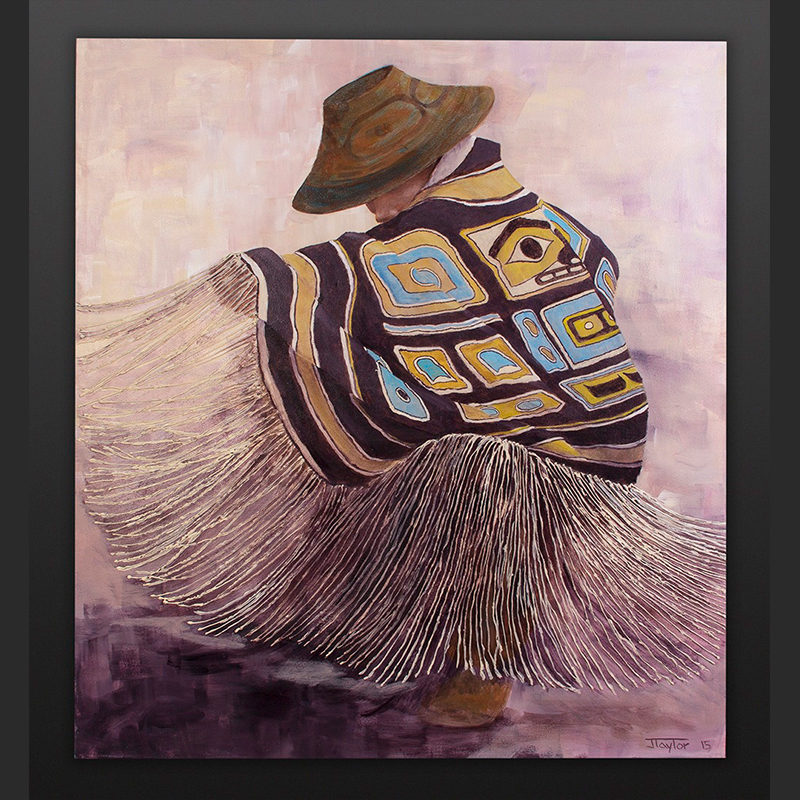 The Young Can Dance Jean Taylor Tlingit Acrylic on canvas 36 x 40 $3800 northwest coast chilkat