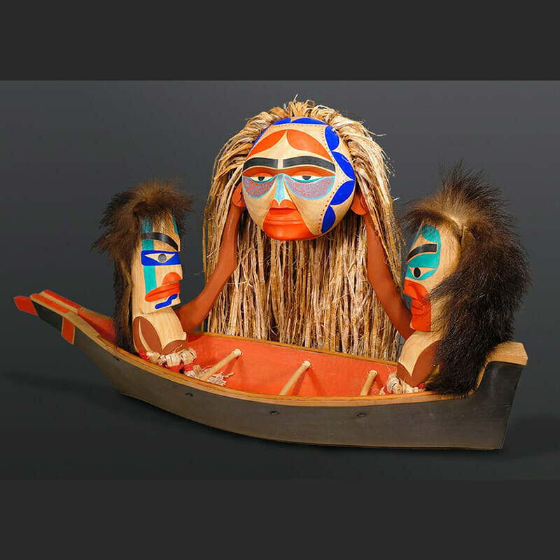 "Ancestors Bring Down the Sun Gregory Colfax Makah Red cedar, cedar bark, horsehair, paint 16"" x 14"" x 11"" $4500"