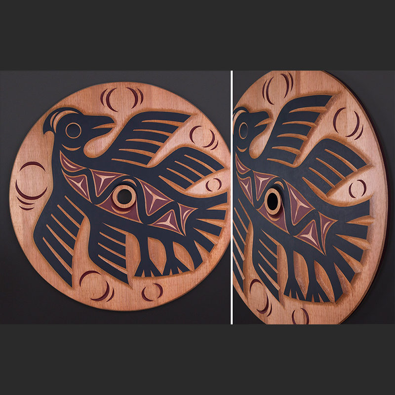 "ancestral guardian whorl Susan Point Coast Salish Red cedar, paint 33"" dia. $7500"