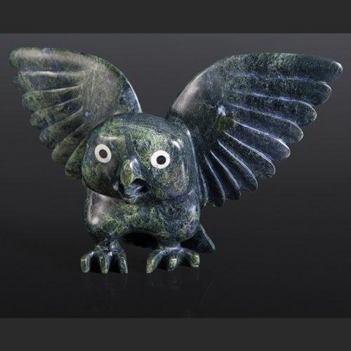 "Toonoo Sharkey Inuit Awoken Owl Serpentine, ivory, baleen 17"" x 11"" x 4"" $4500"
