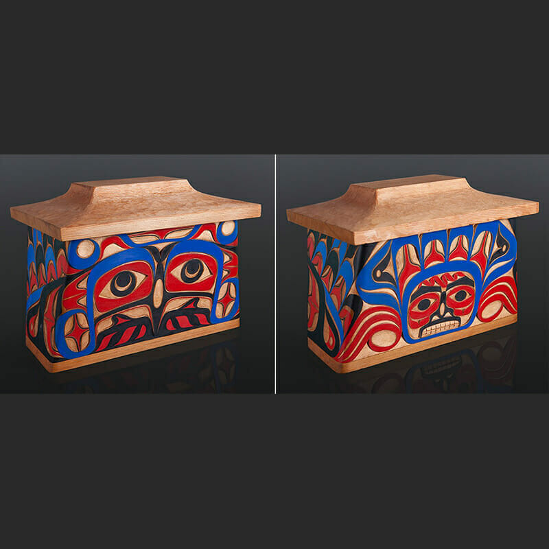 Ray Sim Nuu Cha Nulth bentwood box canoe thunderbird Red cedar, paint