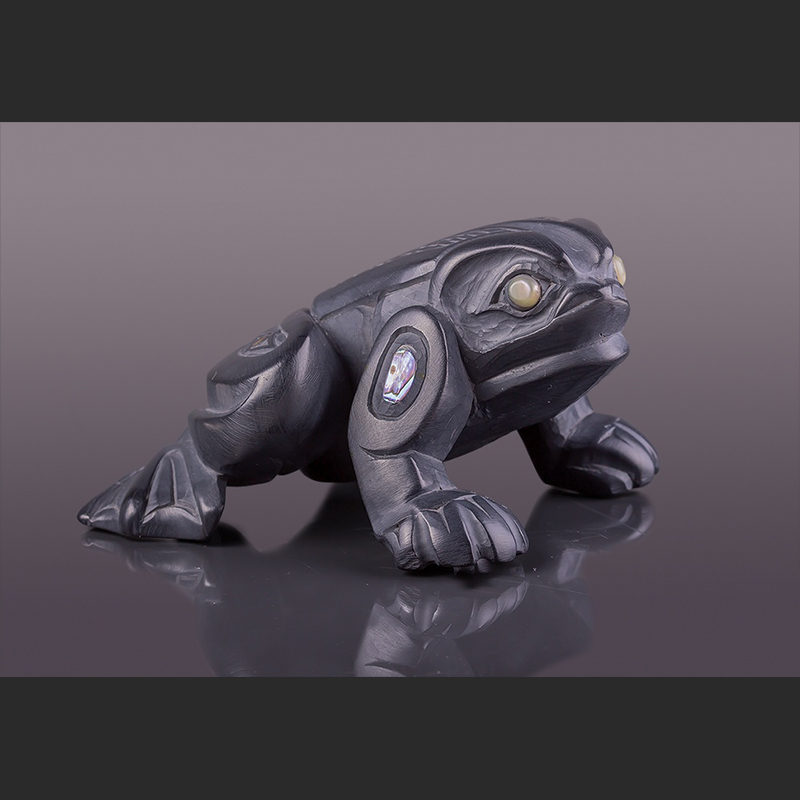"""bringer of news Frog Sculpture with abalone 5"""" x 2"""" x 3"""" frog argillite lionel samuels haida"""