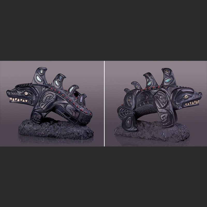 """chief of all water from mountains to the oceans Wasgo the Sea Wolf 10"""" x 13"""" x 5 ½"""" with bone, catlinite, abalone, ivory wasgo wasco sea wolf lionel samuels lionel samuels haida argillite"""