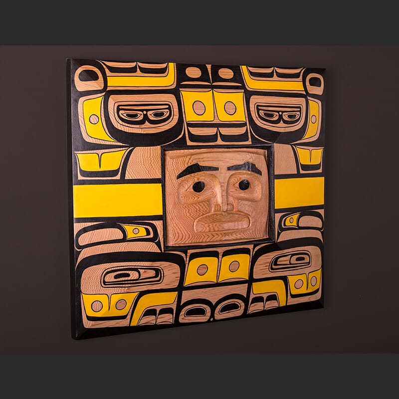 "Chilkat Dancer Arlene Ness – Gitxsan Red cedar, paint 20"" x 18"" x 3"" $5000"
