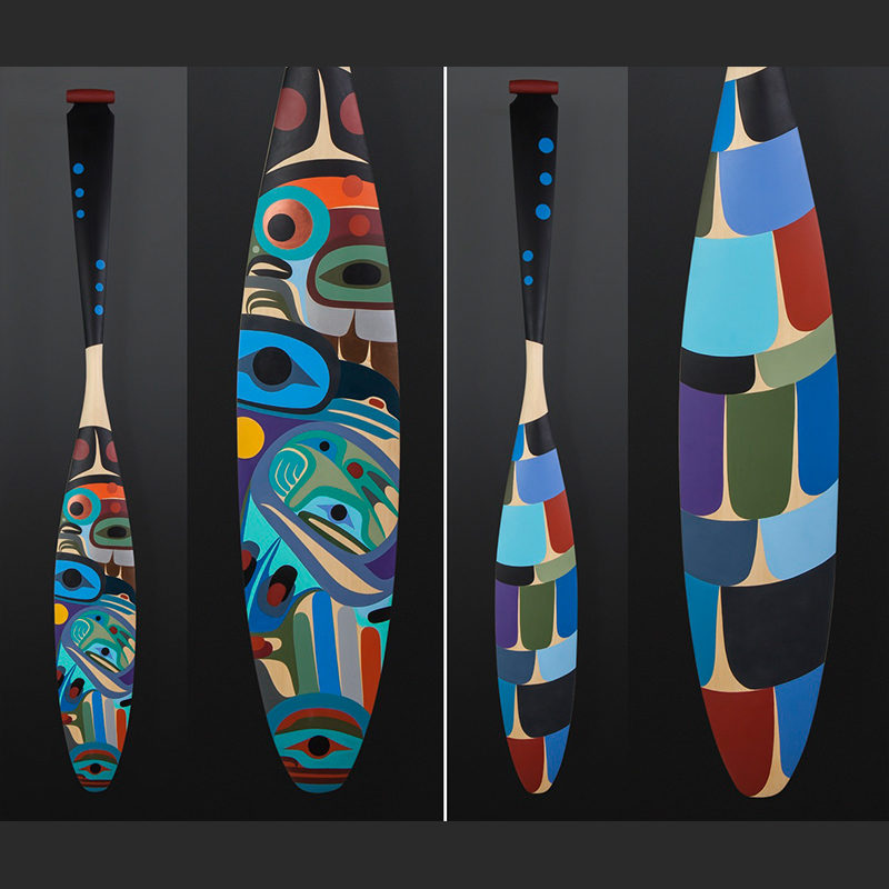 Steve Smith - Dla'kwagila Oweekeno Dream paddle Yellow cedar paint 62 x 7 ½ $6000