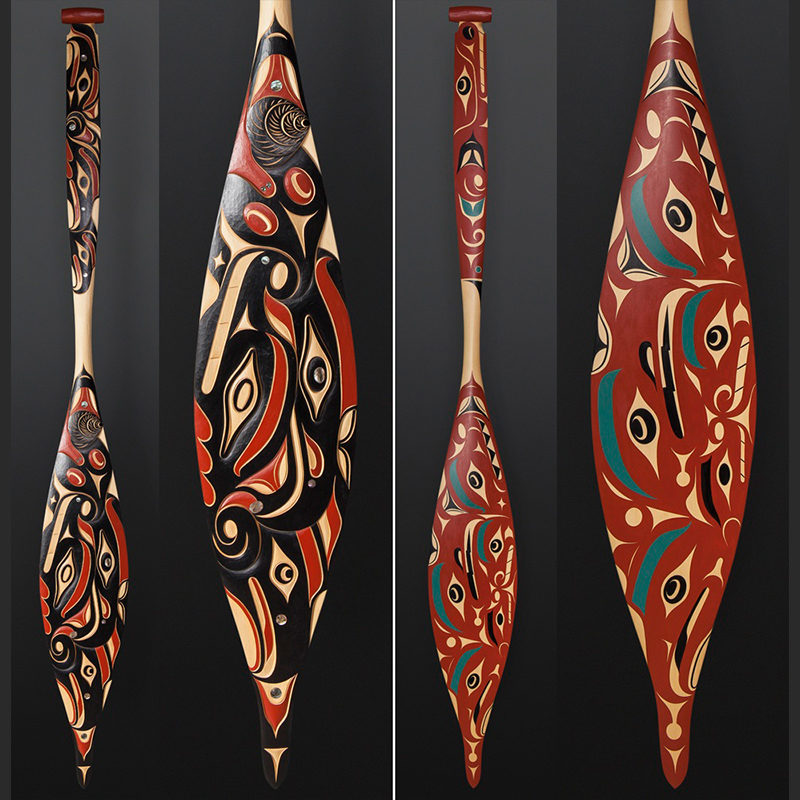 oshua Prescott Cree/Nuu-Chah-Nulth Eagle Snail Paddle Yellow cedar paint 65 x 7½ $3600