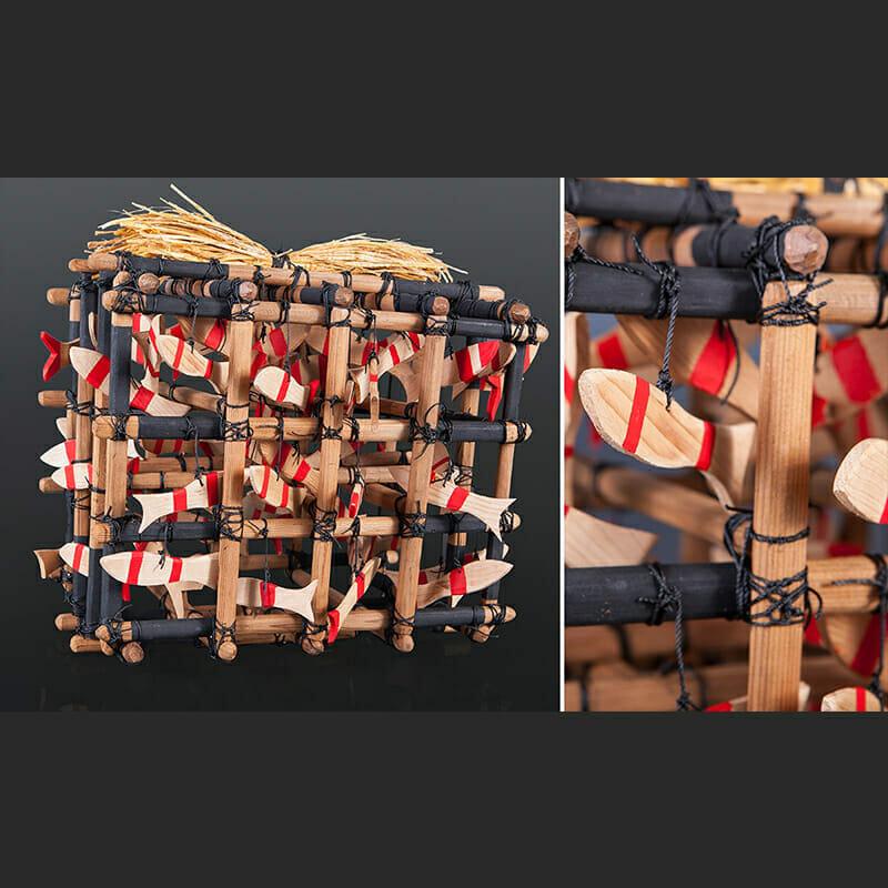 "Gerren Peters Nuu Chah Nulth Salmon Weir Rattle Red cedar, cedar bark, rope, paint 15"" x 13"" x 11"" 1900"