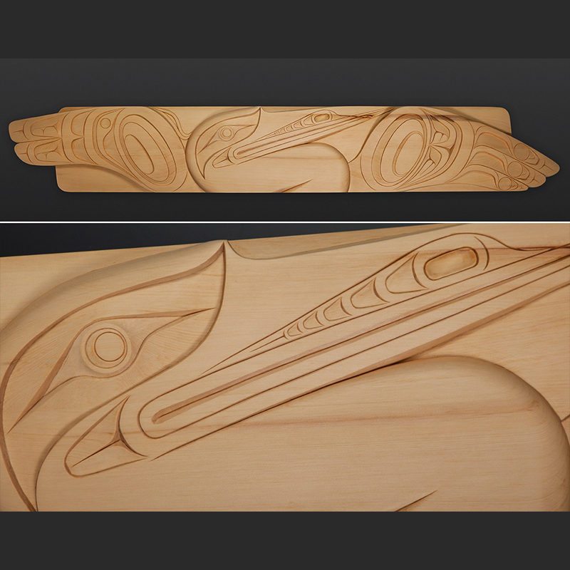 "heron panel Erich Glendale Kwakwaka'wakw Yellow cedar 60"" x 10"" northwest coast art"