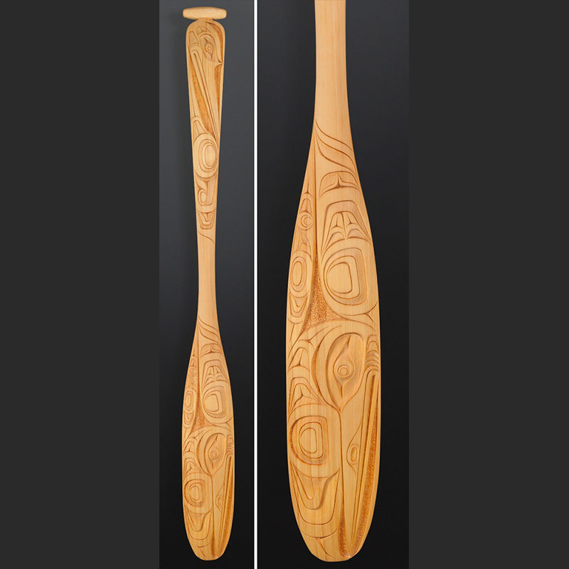 Erich Glendale Kwakwaka'wakw Hummingbirds paddle Yellow cedar 62 x 6 $2800