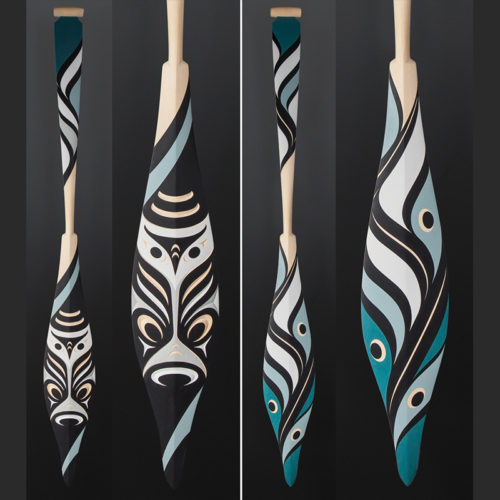 Kelly Cannell Coast Salish Salish Owl paddle Yellow cedar paint 64 x 7 $3900