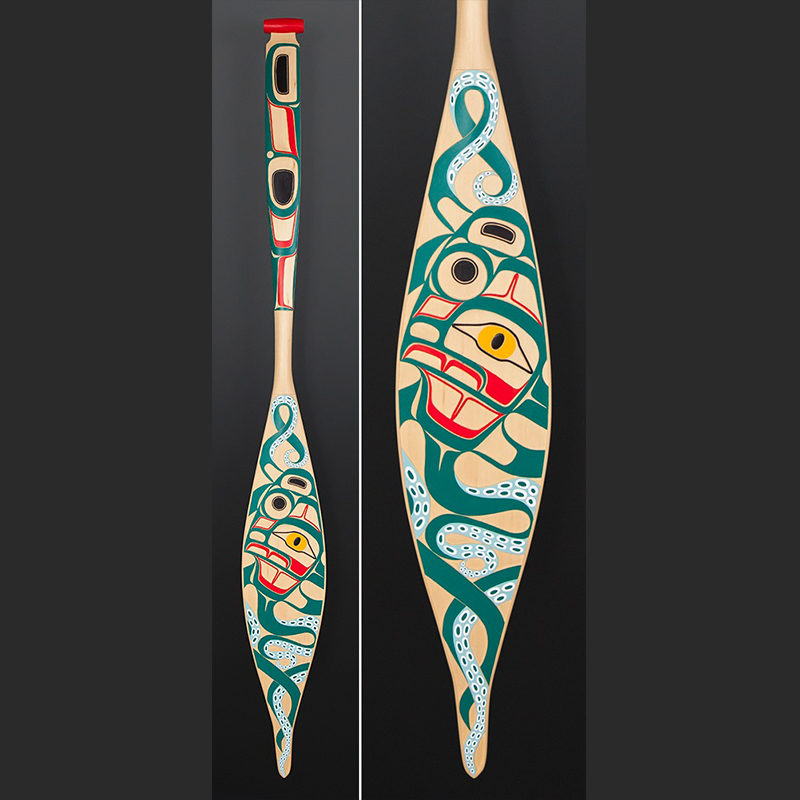 Octopus Corey Moraes Tsimshian paddle Yellow cedar paint 65 x 7 1/2 $4000