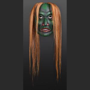 """Otter Woman Phil Gray Tsimshian Cedar, paint, horse hair 14"""" x 9"""" x 8"""" 34"""" with hair"""