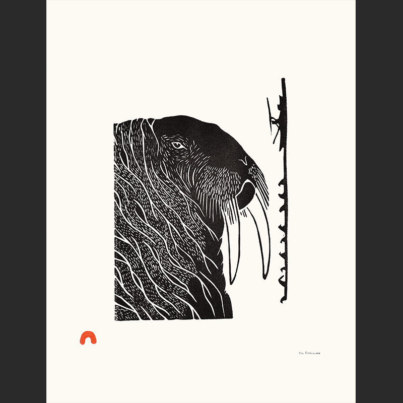 Past Hunters Tim Pitsiulak Linocut cape dorset print collection 2016 $400 walrus